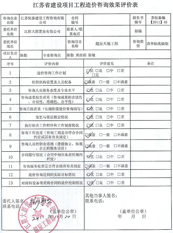 超辰国际广场工程评价表