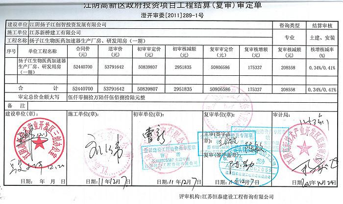 扬子江生物医药加速器生产厂房、研发用房(一期)审定单